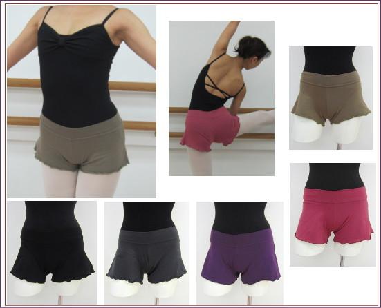 【バレエ用品】裾がフリル状のメロウ仕上げ♪ストレッチ・バレエ ショートパンツ