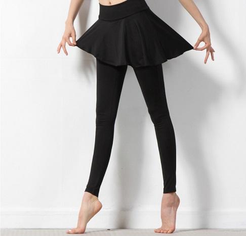バレエ ヨガ【Inblack】アシンメトリースカートが可愛い♪<br>スカート付レギンスパンツ★ブラック