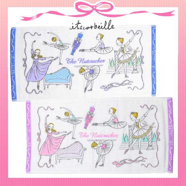 イツコルベイユ バレエタオル/ガーゼミニフェイスタオル ジョリ/くるみ割り人形デザイン ブルー ピンク