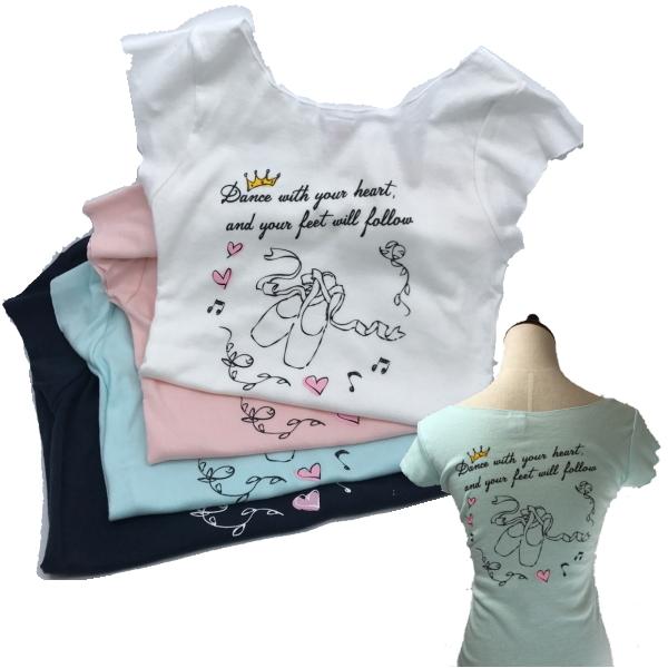 バレエ トップス Tシャツ【 Mignon 】バックプリント*トウシューズ&ハート柄  デコルテが美しい