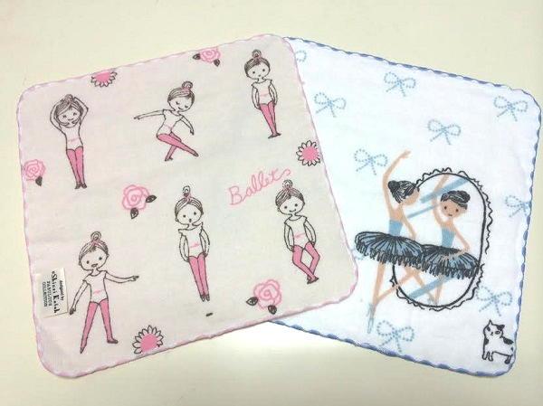 【Shinzi Katoh デザイン】中サイズタオルチーフ♪2種あり★ピンクガールとローズ柄、ミラーとブルーリボン柄