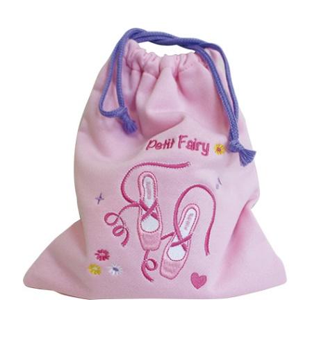 【PetitFairy】トウシューズの刺繍が可愛い♪消臭効果付のスウェット巾着★