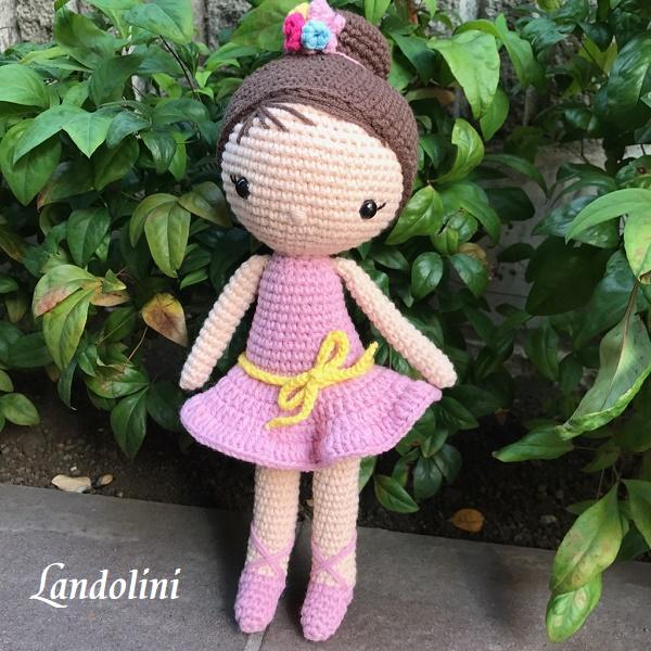 お試しセール【Landolini】バレリーナ編みぐるみドール★トルコ製のハンドメイドのぬいぐるみ