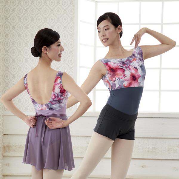 【 Mignon / ミニヨン 】ボートネック レオタード 胸元には水彩画のような美しい花柄プリント 日本製 2色展開 ブラカップ差し込み可能