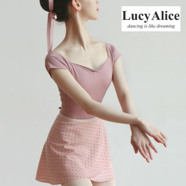【 LucyAlice / ルーシーアリス 】半袖レオタード princess デコルテと背中が綺麗に見える♪ ブラカップ差し込み可能!