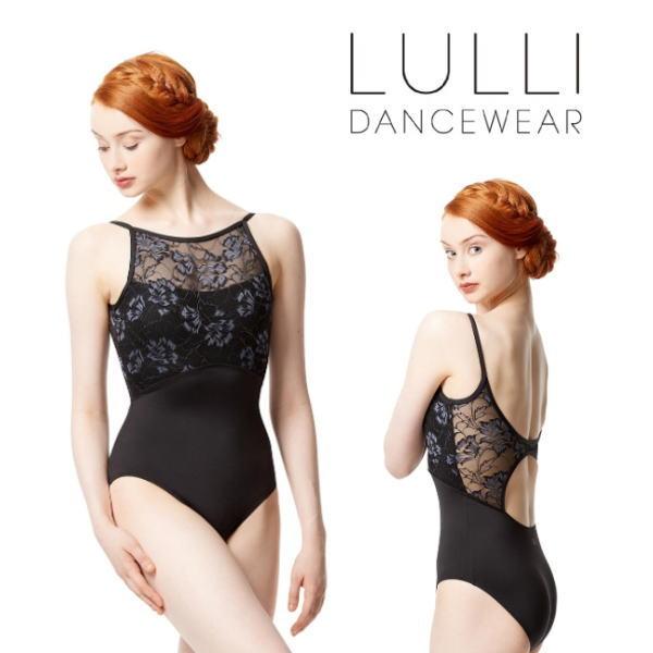 【LULLI】キャミソール レオタード プリントフラワーレース ボートネックラインが美しい 大人 バレエ