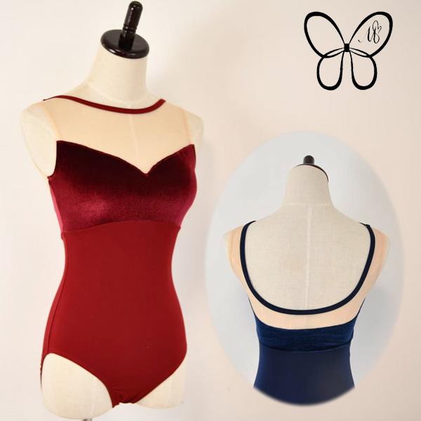 【 Mihorobe / ミホローブ 】 タンク レオタード 胸元ベロアがエレガント ブラカップ差し込み可能 155cm~170cm ジュニア~大人