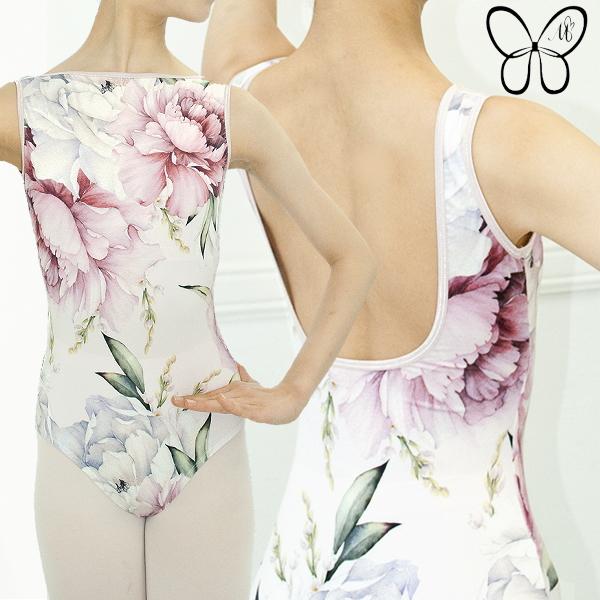 【 Mihorobe / ミホローブ 】 美しい全面花柄プリント ボートネックレオタード (ピンクベース) ブラカップ差し込み可能