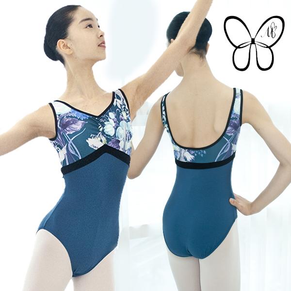 【 Mihorobe / ミホローブ 】 タンク型レオタード 胸元花柄プリント Vネック ブラカップ差し込み可能
