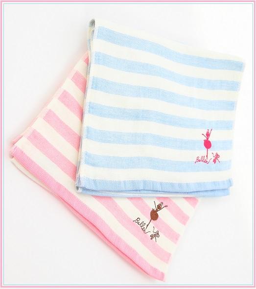 【shinzi katohデザイン】ストライプにバレリーナのワンポイント刺繍入り★フェイスタオル(汗拭きタオル)