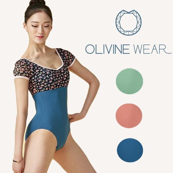 【 OLIVINE WEAR 】 FLORA 大人 花柄 半袖レオタード オリビン オリヴィン バレエ