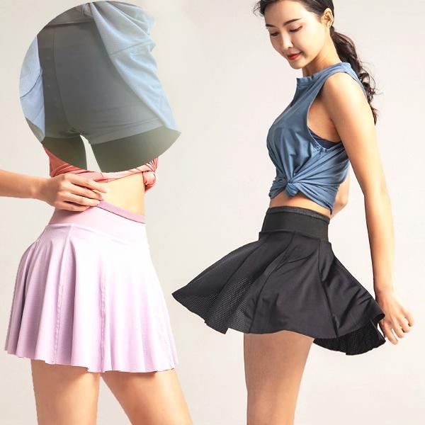 インナーパンツ付きスカート  一分丈ショートパンツ ポケット付き