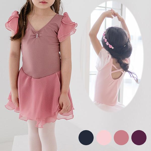 【4月の会員様特別割引商品】<br> 子供 スカート付き バレエ レオタード 袖フリル 100~135cm 4色