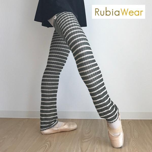 【Rubia Wear】バレエダンサーがデザインした超ロングレッグウォーマー Pinon(グリーン×オフホワイト) フルレッグ
