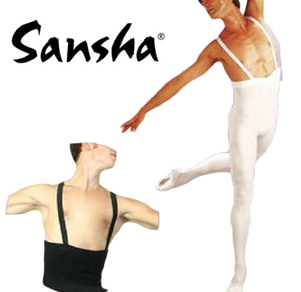 【 sansha / サンシャ 】男性用 ( 男の子 ) ベルト付き厚手バレエタイツ(肩に平ゴム縫い付け済み)