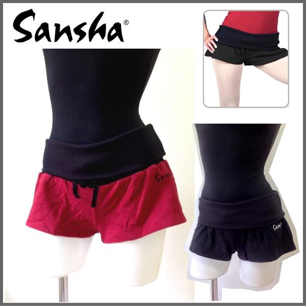 【サンシャ】ウエスト幅広 柔らかフリース素材 バレエショートパンツ