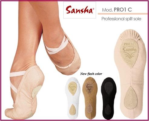 【サンシャ】Pro-1C バレエシューズ:世界中のプロダンサーが愛用!手縫いスプリット・プロワン バレエシューズ