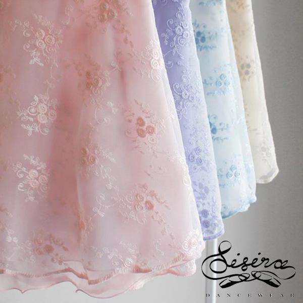 【Sisira】バラの刺繍入りレースとシフォンの2枚重ね Sisiradancewear シシラダンスウエア バレエスカート