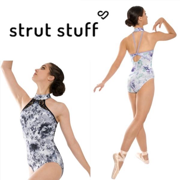 【strut stuff】大人ホルターレオタード 美しい花柄が素敵♪