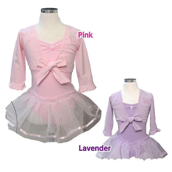 子供 バレエ タイトップボレロ:フリルの七分袖と胸元トウシューズが可愛い♪(ピンク/白/ラベンダー)
