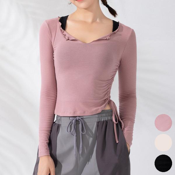 長袖トップス サイドシャーリングが美しい! ゆるやかVネック 柔らかくしっとりとしたストレッチ生地 白 黒 ピンク