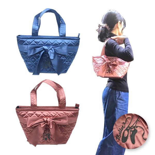 【11月の会員様特別割引商品】<br> サテンリボントートバッグ トウシューズ刺繍入り チャック付き 【ミニヨン】