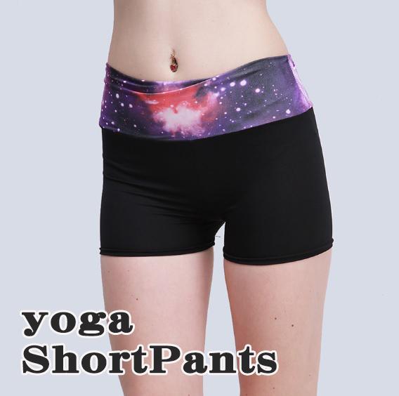 バレエやヨガ用パンツ 宇宙をイメージしたウエストがオシャレなショートパンツ♪